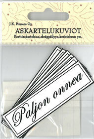 Askartelukuvio Paljon Onnea 6kpl/pkt - Tarrat ja tarrakirjat - 150740 - 1