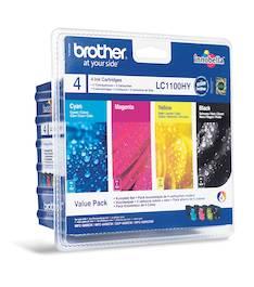 BROTHER LC1100HY mustesuihku 4 väriä - Brother mustesuihkuväripatruunat - 120361 - 1