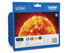 BROTHER LC980 mustesuihku 4 väriä - Brother mustesuihkuväripatruunat - 130661 - 1