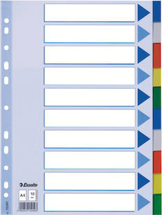 Rekisteri 10-os. A4 ESSELTE muovi - Rekisterisarjat,muoviset - 108351 - 1