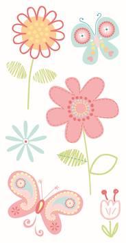 Flowers-tarra-arkki, roosa - Askartelutarvikkeet - 137282 - 1