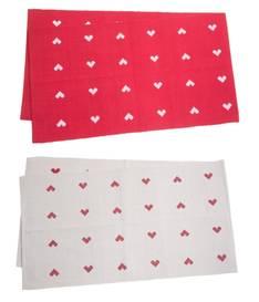 Kaitaliina sydämet 33x120cm - Jouluun valot,koristeet,tekstiilit - 149772 - 1