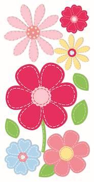 Flowers, pyöreä tarra-arkki, pun/pinkki - Askartelutarvikkeet - 137283 - 1