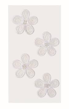 Flowers tekstiili tarra-arkki, valkoinen - Askartelutarvikkeet - 137233 - 1