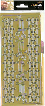 Ääriviivatarra risti ja ruusu - Tarrat ja tarrakirjat - 136004 - 1