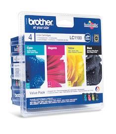 BROTHER LC1100 mustesuihku 4 väriä - Brother mustesuihkuväripatruunat - 120364 - 1
