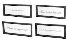 Peili ikkunakehys 40x90cm engl.tekstit musta lajitelma - Peilit - 135374 - 1