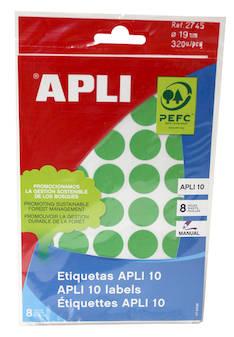 Tarraetiketti 19mm APLI pyöreä - Etiketit-, tulostuskortit ja tarrakalvot - 127574 - 1