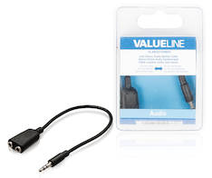Audio jakok. 3.5mm ur-2x3.5mm na 0.2m - Kaapelit ja kaapelikourut, jatkojohdot - 139135 - 1