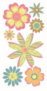 Flowers-tarra-arkki, pastelli - Askartelutarvikkeet - 137285 - 1