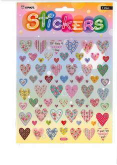 Tarra-arkki sydämet glitter - Tarrat ja tarrakirjat - 142835 - 1