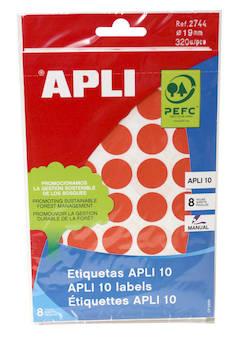 Tarraetiketti 19mm APLI pyöreä - Etiketit-, tulostuskortit ja tarrakalvot - 127575 - 1