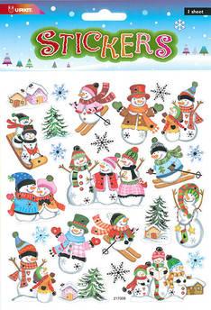 Tarra-arkki iloiset lumiukot - Tarrat ja tarrakirjat - 153495 - 1