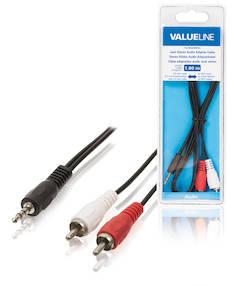 Audiokaapeli 3.5mm uros-2xrca uros 1m - Kaapelit ja kaapelikourut, jatkojohdot - 139136 - 1
