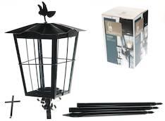 Hautalyhty lintu+risti musta - Kynttilät, lyhdyt ja tarvikkeet - 145076 - 1