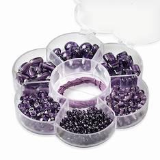 Helmisetti kukkarasia, violetti - Askartelutarvikkeet - 137696 - 1
