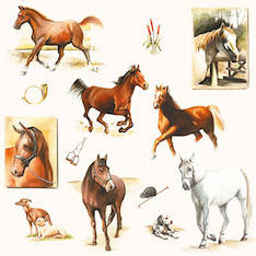 Lautasliina 25x25cm horse world fsc mix - Servietit ja lautasliinat - 143776 - 1