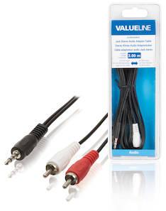 Audiokaapeli 3.5mm uros-2xrca uros 3.00m - Kaapelit ja kaapelikourut, jatkojohdot - 139137 - 1