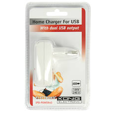 Dual König USB laturi verkkovirta - Kaapelit ja kaapelikourut, jatkojohdot - 129947 - 1