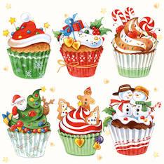 Lautasliina 33x33cm christmas cupcakes f - Servietit ja lautasliinat - 143847 - 1