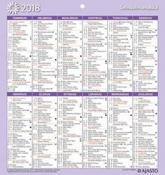 Seinäalmanakka/väggalmanackan - Ajasto kalenterit - 152657 - 1