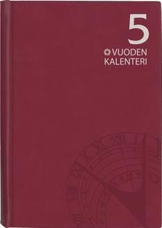 5 vuoden kalenteri, päiväämätön  viininpunainen - Ajasto kalenterit - 152588 - 1
