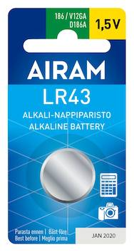 Paristo Airam LR43  86A, 1,5V - Paristot - 139489 - 1