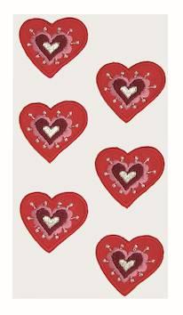Hearts tekstiili tarra-arkki, punainen - Askartelutarvikkeet - 137239 - 1