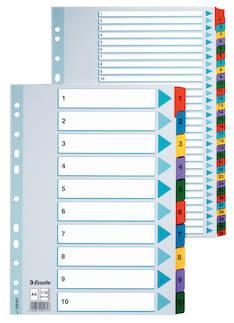 Rekisteri 1-10 A4 ESSELTE Mylar - Rekisterisarjat,muoviset - 117739 - 1